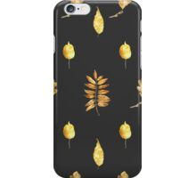 Autumn Leaves Pattern On Black iPhone Case/Skin