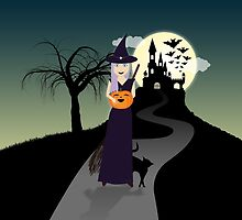 Cute Halloween Witch With Happy Pumpkin And Black Cat by PLdesign