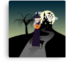 Cute Halloween Witch With Happy Pumpkin And Black Cat Canvas Print