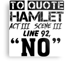 Hamlet - William Shakespeare's play Metal Print
