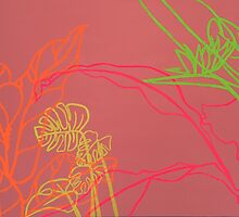 Paradise Drift - large bright neon minimalistic pop painting tropical  by saracannon