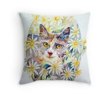 Molly in the daisies - photo by Annette Hagger Throw Pillow