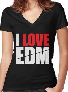 I Love EDM (Electronic Dance Music)  [white] Women's Fitted V-Neck T-Shirt
