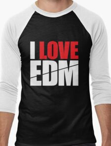 I Love EDM (Electronic Dance Music)  [white] Men's Baseball ¾ T-Shirt