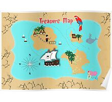 Pirates Secret Hidden Treasure Themed Map Poster