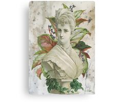 Victorian Lady White Statue Bust Green Plants Canvas Print