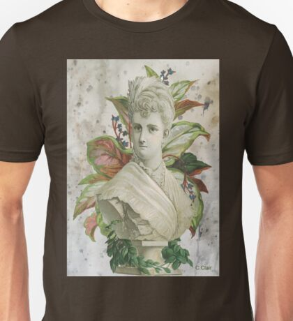 Victorian Lady White Statue Bust Green Plants Unisex T-Shirt