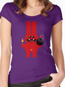 RABBIT 4  (Cute pet has a bomb and its alight!) Women's Fitted Scoop T-Shirt