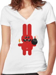 RABBIT 4  (Cute pet has a bomb and its alight!) Women's Fitted V-Neck T-Shirt