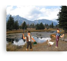 No you idiot!!  I said we need to find a duck blind!! Canvas Print