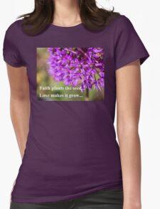 Faith and Love...Purple Allium Womens Fitted T-Shirt