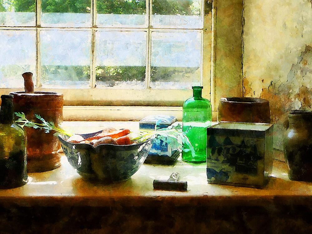 Bowl of Vegetables and Green Bottle by Susan Savad