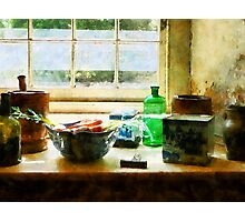 Bowl of Vegetables and Green Bottle Photographic Print