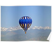 Ballooning with Indian Peaks in background Poster