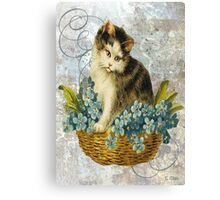 Blue Victorian Flowers Cat In Basket Canvas Print