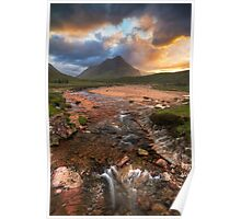 Buachaille Etive Beag at Sunset. River Coupall. Glen Coe. North West Highlands. Scotland. Poster