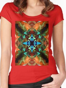 Abstract Inkblot Pattern Women's Fitted Scoop T-Shirt