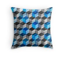 Cubes of Gray And Blue Throw Pillow