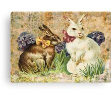 Victorian Easter Bunnies Rabbits In Grass Canvas Print