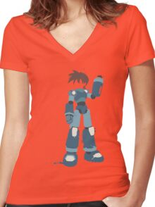 Mega Man (Legendary Mode) Women's Fitted V-Neck T-Shirt
