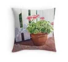 Sunny Day Geraniums Throw Pillow