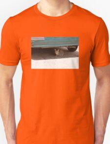 Cat Under Turquoise Car  Unisex T-Shirt