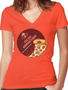 Pizza Abduction Women's Fitted V-Neck T-Shirt