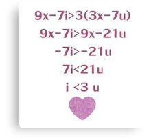 Equation Of My Heart Canvas Print