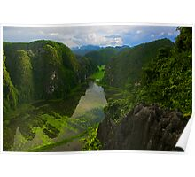View from Hang Mua Temple, Ninh Binh, Vietnam. Poster
