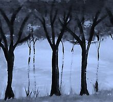 Series,#2,  of trees in forest, watercolor by Anna  Lewis