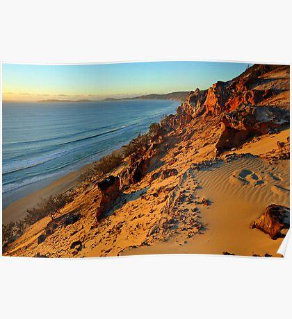 Coloured Sands at sunrise. Rainbow Beach, Queensland, Australia. Poster