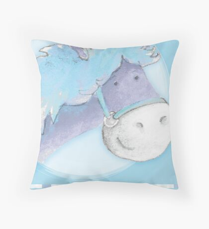 """Peter Patter Pony"" birthday card Throw Pillow"