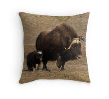 Mama and Baby - Musk Ox Throw Pillow