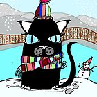 Pat the cat is out in the snow! by PoshCatDesigns
