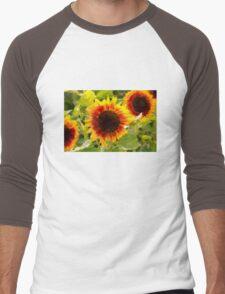 Painted Sunflower Men's Baseball ¾ T-Shirt