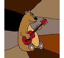 Cool Funny Brown Bear Playing Red Guitar Photographic Print