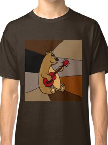 Cool Funny Brown Bear Playing Red Guitar Classic T-Shirt