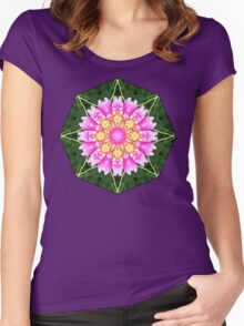 PINK DAHLIA MANDALA Women's Fitted Scoop T-Shirt