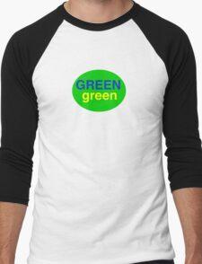 Green # 1  Men's Baseball ¾ T-Shirt