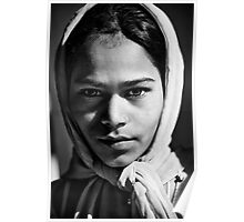 Girl at railway station Poster