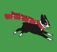 Holiday Boston Terrier Wearing Winter Scarf One Piece - Short Sleeve