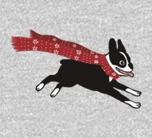Holiday Boston Terrier Wearing Winter Scarf One Piece - Long Sleeve
