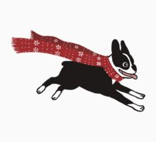 Holiday Boston Terrier Wearing Winter Scarf Kids Tee
