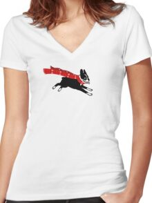 Holiday Boston Terrier Wearing Winter Scarf Women's Fitted V-Neck T-Shirt