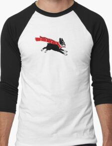 Holiday Boston Terrier Wearing Winter Scarf Men's Baseball ¾ T-Shirt