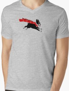 Holiday Boston Terrier Wearing Winter Scarf Mens V-Neck T-Shirt