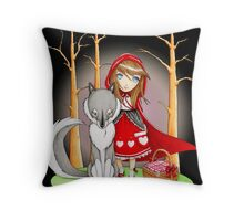 Red Riding Hood and Wolfie Throw Pillow