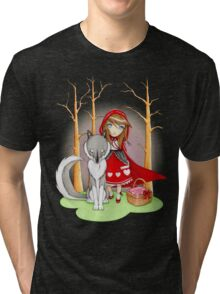 Red Riding Hood and Wolfie Tri-blend T-Shirt