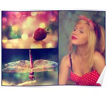 Strawberries and Dragonflies... Poster