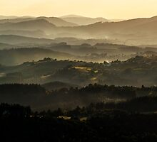 Sunset over Beskidy Mountains by JBlaminsky